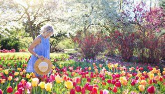 Dame går igennem flotte blomster i have